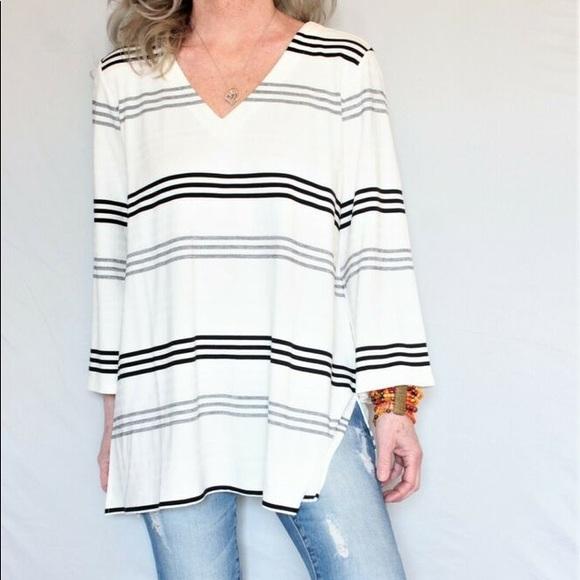 J. Jill Wearever Collection Striped V-Neck Tunic